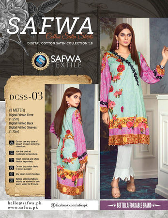 CSK03- SAFWA DIGITAL COTTON Satin PRINT KURTI COLLECTION -SHIRT KURTI KAMEEZ