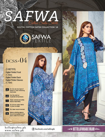 CSK04- SAFWA DIGITAL COTTON Satin PRINT KURTI COLLECTION -SHIRT KURTI KAMEEZ