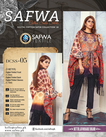 CSK05- SAFWA DIGITAL COTTON Satin PRINT KURTI COLLECTION -SHIRT KURTI KAMEEZ