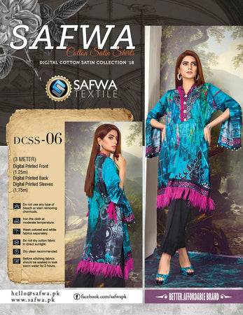 CSK06- SAFWA DIGITAL COTTON Satin PRINT KURTI COLLECTION -SHIRT KURTI KAMEEZ