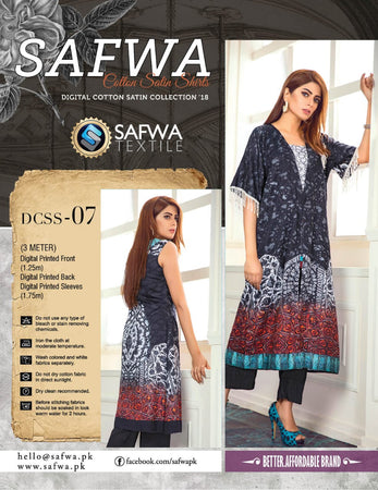 CSK07- SAFWA DIGITAL COTTON Satin PRINT KURTI COLLECTION -SHIRT KURTI KAMEEZ
