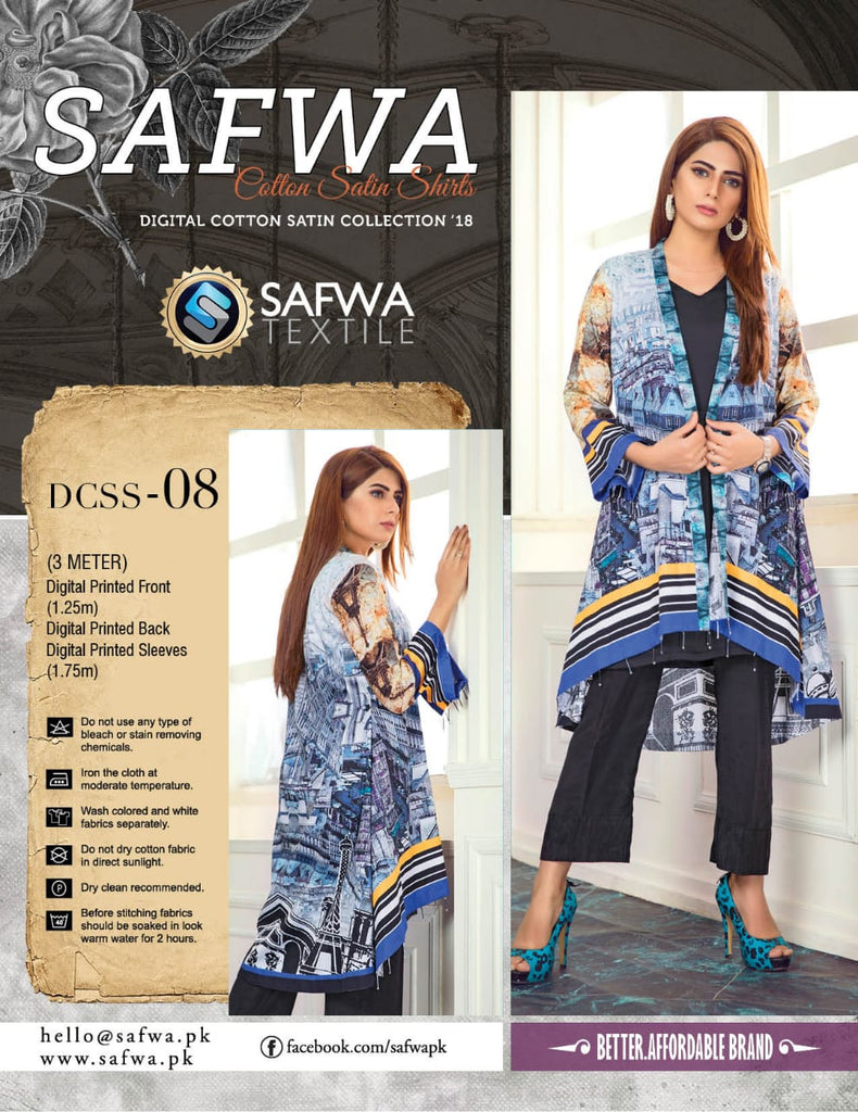 CSK08- SAFWA DIGITAL COTTON Satin PRINT KURTI COLLECTION -SHIRT KURTI KAMEEZ