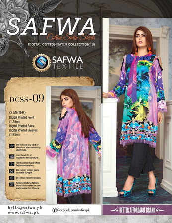 CSK09- SAFWA DIGITAL COTTON Satin PRINT KURTI COLLECTION -SHIRT KURTI KAMEEZ