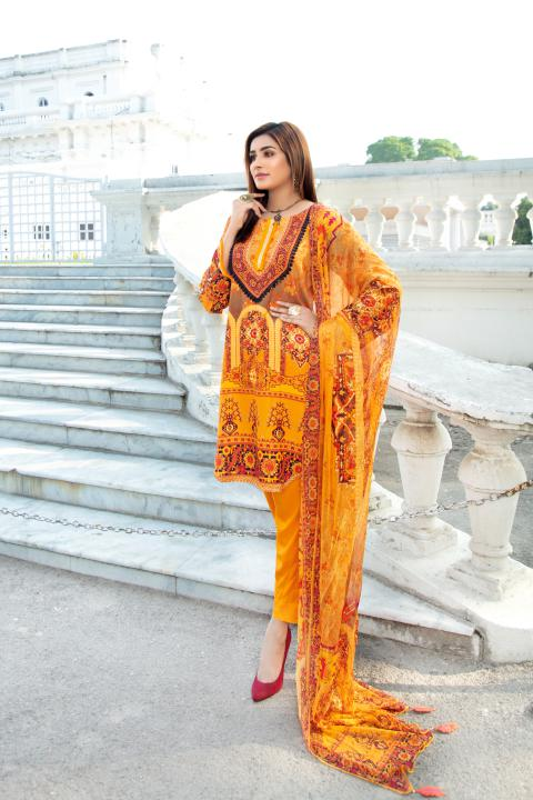 MCS-009 -SAFWA DIGITAL PRINTED MAPLE VISOCSE 3 PIECE COLLECTION - DIGITAL PRINTED 2020