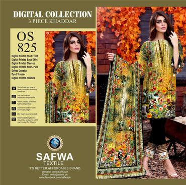 Safwa Digital Oscar Collection - Women Clothing Fashion - 3 piece Shalrwar Kameez - Khaddar- Pakistani Dresses- Online Shopping