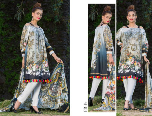 SAFWA DRESS DESIGN, DRESSES, PAKISTANI DRESSES, PR-14 - PRAHA COLLECTION - 3 PIECE SUIT 2019-Three Piece Suit-SAFWA -SAFWA Brand Pakistan online shopping for Designer Dresses