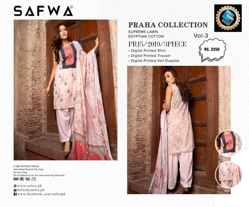 SAFWA DRESS DESIGN, DRESSES, PAKISTANI DRESSES, PR-15 - PRAHA COLLECTION - 3 PIECE SUIT 2019-Three Piece Suit-SAFWA -SAFWA Brand Pakistan online shopping for Designer Dresses