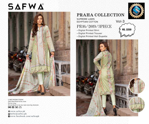 SAFWA DRESS DESIGN, DRESSES, PAKISTANI DRESSES, PR-16 - PRAHA COLLECTION - 3 PIECE SUIT 2019-Three Piece Suit-SAFWA -SAFWA Brand Pakistan online shopping for Designer Dresses