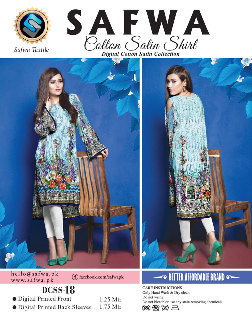 DCSS-18- SAFWA DIGITAL COTTON Satin PRINT KURTI COLLECTION -SHIRT KURTI KAMEEZ