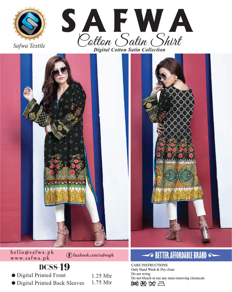 DCSS-19- SAFWA DIGITAL COTTON Satin PRINT KURTI COLLECTION -SHIRT KURTI KAMEEZ