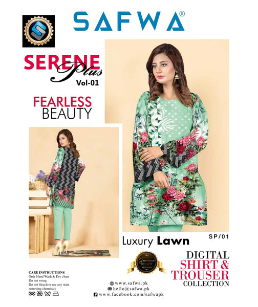 SP-01-SAFWA PREMIUM LAWN-SERENE PLUS COLLECTION-DIGITAL 2 PIECE - Safwa-Pakistani Dresses-Dresses-Kurti-Shop Online