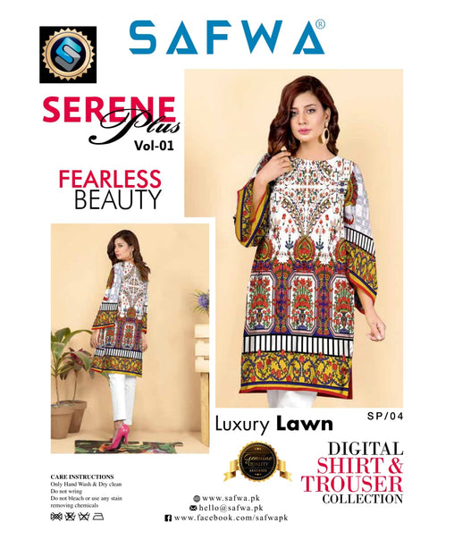 SP-04-SAFWA PREMIUM LAWN-SERENE PLUS COLLECTION-DIGITAL 2 PIECE - Safwa-Pakistani Dresses-Dresses-Kurti-Shop Online