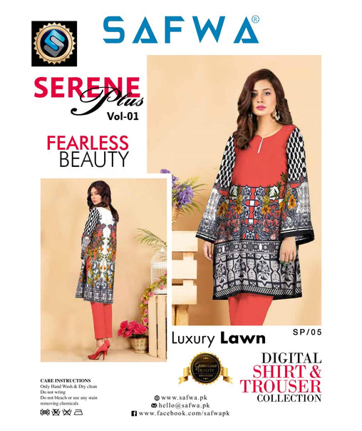 SP-05-SAFWA PREMIUM LAWN-SERENE PLUS COLLECTION-DIGITAL 2 PIECE - Safwa-Pakistani Dresses-Dresses-Kurti-Shop Online