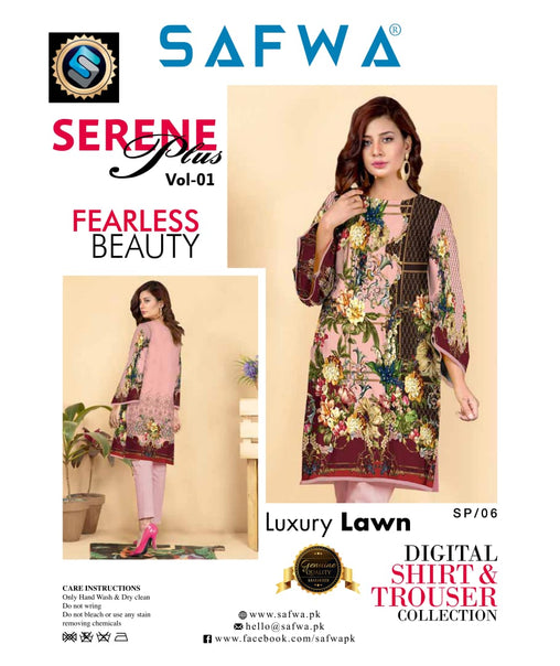 SP-06-SAFWA PREMIUM LAWN-SERENE PLUS COLLECTION-DIGITAL 2 PIECE - Safwa-Pakistani Dresses-Dresses-Kurti-Shop Online