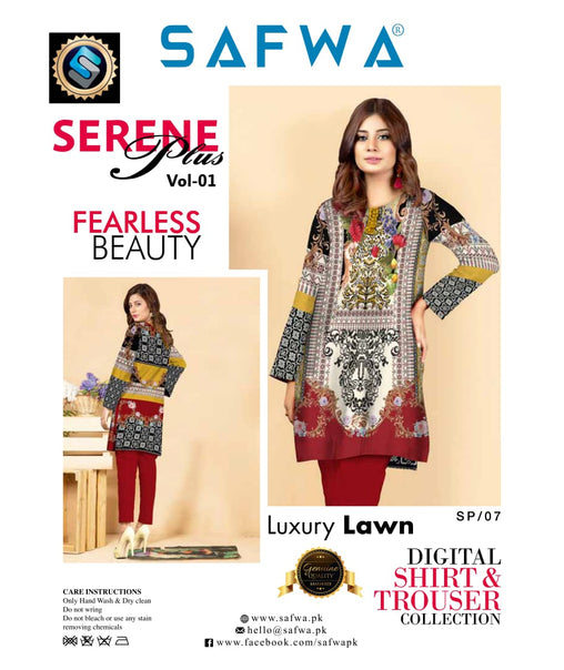 SP-07-SAFWA PREMIUM LAWN-SERENE PLUS COLLECTION-DIGITAL 2 PIECE - Safwa-Pakistani Dresses-Dresses-Kurti-Shop Online