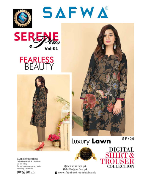 SP-09-SAFWA PREMIUM LAWN-SERENE PLUS COLLECTION-DIGITAL 2 PIECE - Safwa-Pakistani Dresses-Dresses-Kurti-Shop Online