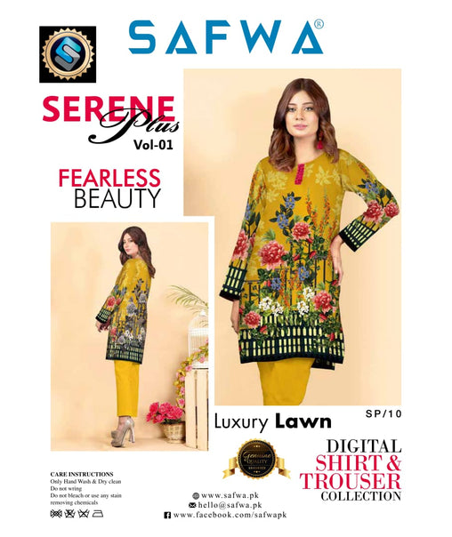SP-10-SAFWA PREMIUM LAWN-SERENE PLUS COLLECTION-DIGITAL 2 PIECE - Safwa-Pakistani Dresses-Dresses-Kurti-Shop Online