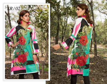 SR-02- SAFWA PREMIUM LAWN - SERENE COLLECTION - DIGITAL  - SHIRT