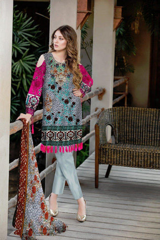 BT-202A - SAFWA LAWN - BOTANIC COLLECTION - EMBROIDERED - 3 PIECE DRESS