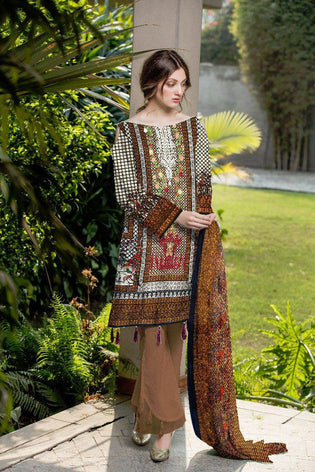 BT-203B - SAFWA LAWN - BOTANIC COLLECTION - EMBROIDERED - 3 PIECE DRESS