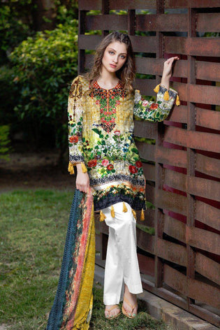 BT-205B - SAFWA LAWN - BOTANIC COLLECTION - EMBROIDERED - 3 PIECE DRESS