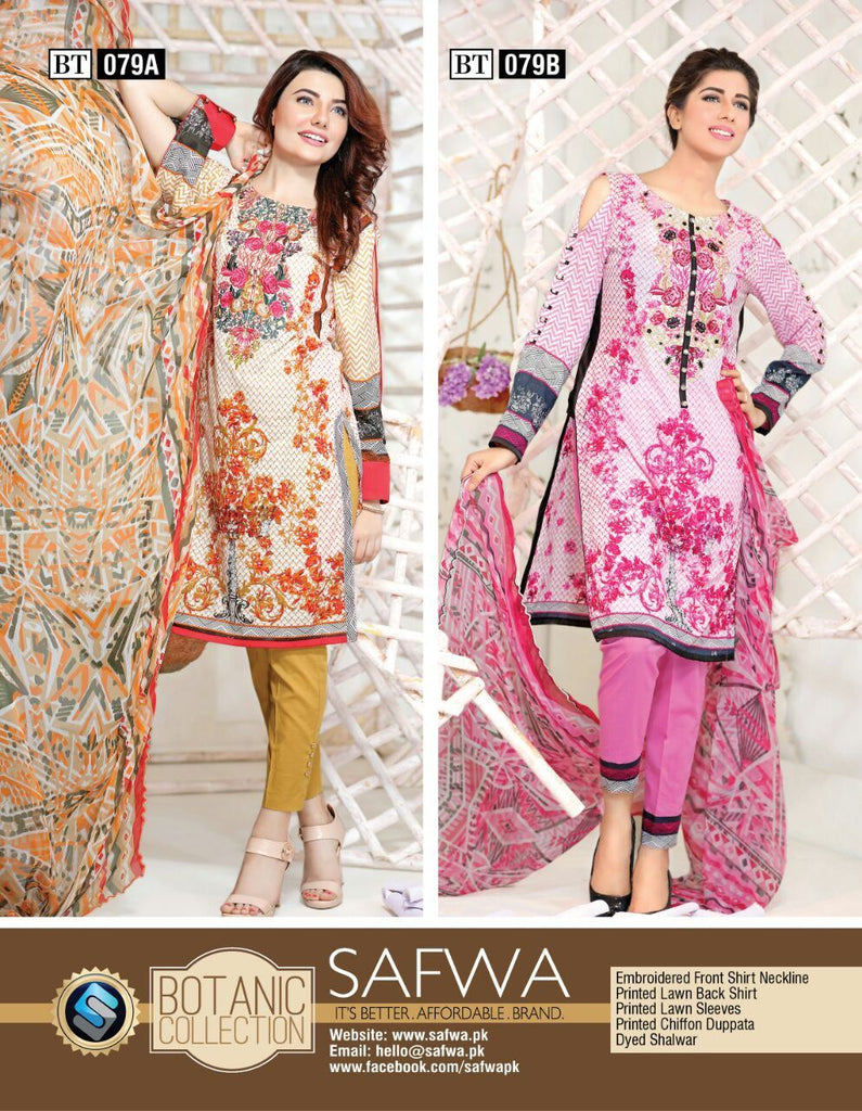 BT079 - SAFWA - THREE PIECE SUIT - BOTANIC COLLECTION - LAWN, Three Piece Suit, SAFWA, SAFWA Brand - Pakistani Dresses | Kurtis | Shalwar Kameez | Online Shopping | Lawn Dress