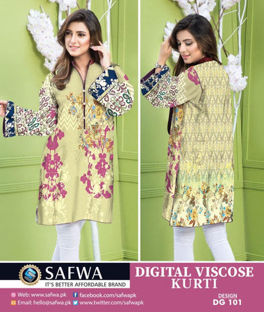 DG101 - SAFWA - DIGITAL SHIRT - KURTI -  VISCOSE kurti  DIGITAL PRINT KURTI COLLECTION -KAMEEZ