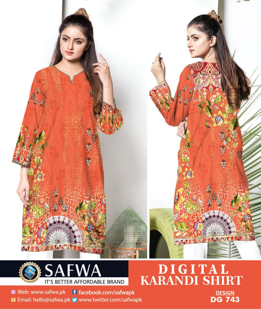DG743- SAFWA DIGITAL KARANDI PRINT KURTI COLLECTION -SHIRT KURTI KAMEEZ