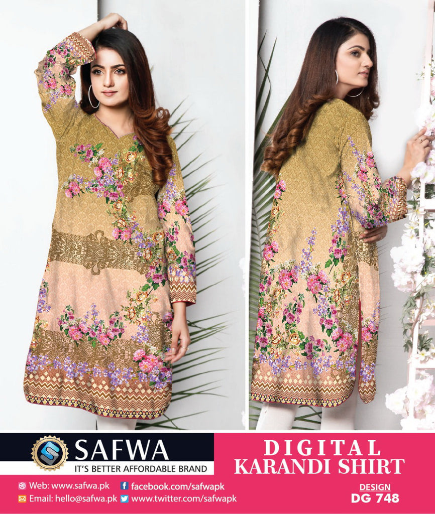 DG748- SAFWA DIGITAL KARANDI PRINT KURTI COLLECTION -SHIRT KURTI KAMEEZ