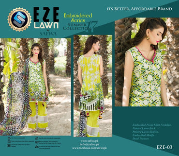 EZ-03 - SAFWA LAWN - EZE COLLECTION - EMBROIDERED - 3 PIECE DRESS
