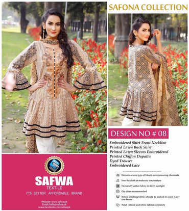 SA-08 - SAFWA LAWN - SAFONA COLLECTION - EMBROIDERED - 3 PIECE DRESS
