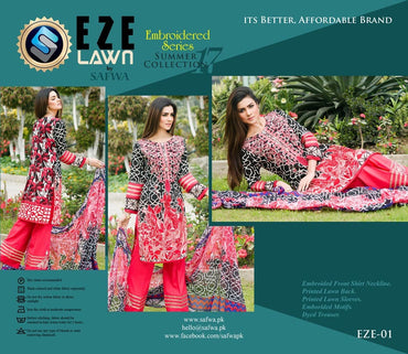 EZ-01 - SAFWA LAWN - EZE COLLECTION - EMBROIDERED - 3 PIECE DRESS