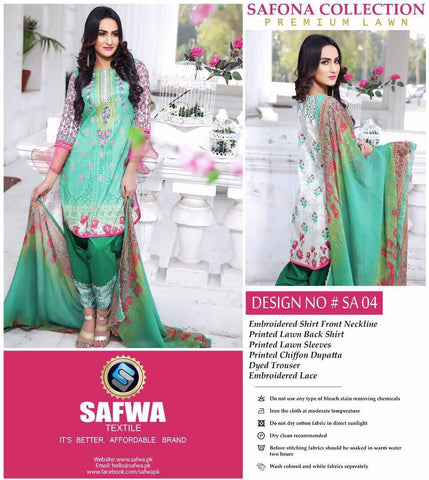 SA-04 - SAFWA LAWN - SAFONA COLLECTION - EMBROIDERED - 3 PIECE DRESS