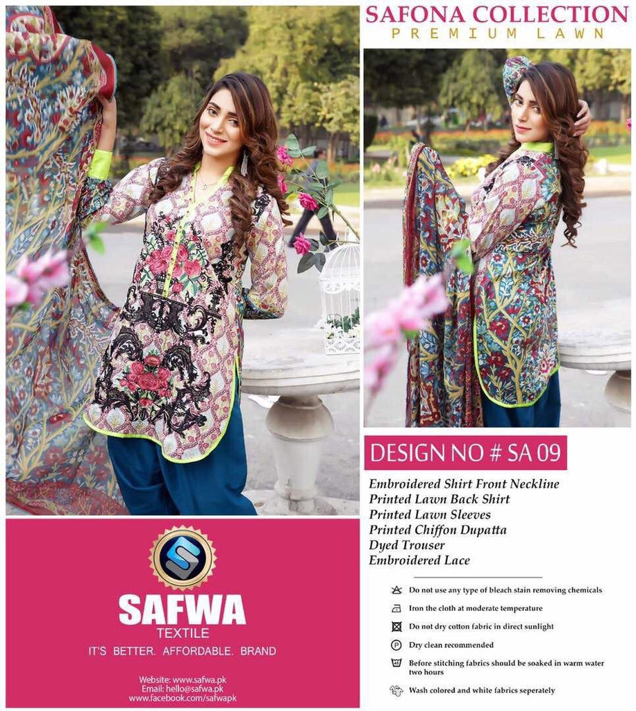 SA-09 - SAFWA LAWN - SAFONA COLLECTION - EMBROIDERED - 3 PIECE DRESS, Three Piece Suit, SAFWA, SAFWA Brand - Pakistani Dresses | Kurtis | Shalwar Kameez | Online Shopping | Lawn Dress