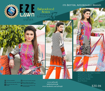 EZ-04 - SAFWA LAWN - EZE COLLECTION - EMBROIDERED - 3 PIECE DRESS