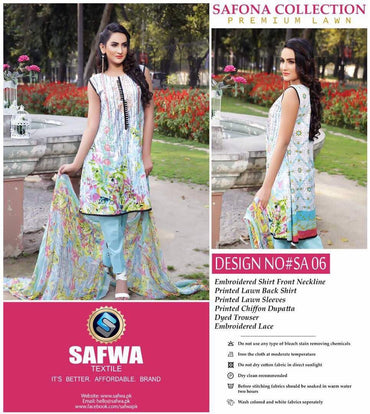 SA-06 - SAFWA LAWN - SAFONA COLLECTION - EMBROIDERED - 3 PIECE DRESS