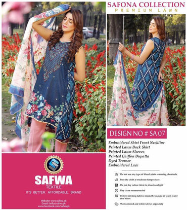 SA-07 - SAFWA LAWN - SAFONA COLLECTION - EMBROIDERED - 3 PIECE DRESS