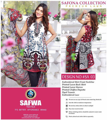 SA-03 - SAFWA LAWN - SAFONA COLLECTION - EMBROIDERED - 3 PIECE DRESS