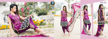 EZ-02 - SAFWA LAWN - EZE COLLECTION - EMBROIDERED - 3 PIECE DRESS