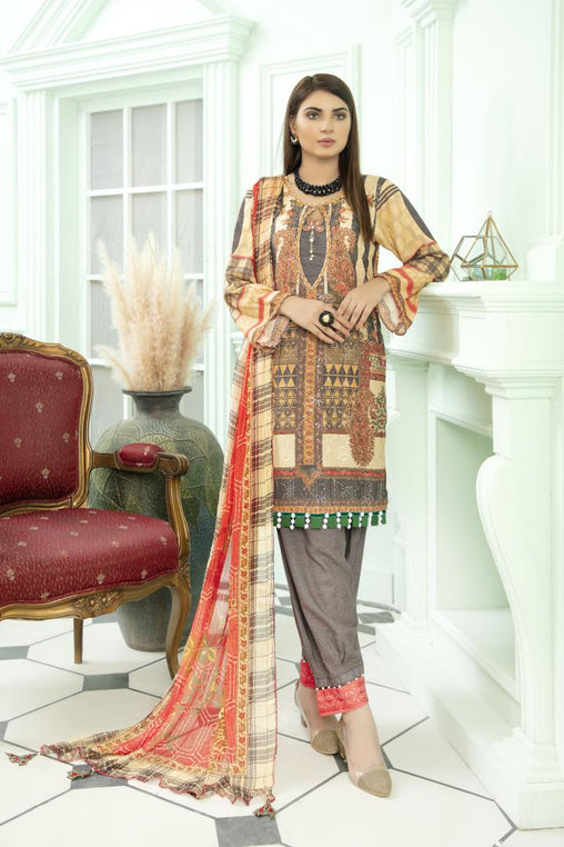SK 01 - SAFWA DIGITAL KHADDAR 3 PIECE PRINT COLLECTION -SHIRT Trouser and Duptta |SAFWA DRESS DESIGN| DRESSES| PAKISTANI DRESSES| SAFWA -SAFWA Brand Pakistan online shopping for Designer Dresses