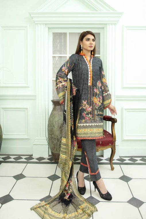 SK 02 - SAFWA DIGITAL KHADDAR 3 PIECE PRINT COLLECTION -SHIRT Trouser and Duptta |SAFWA DRESS DESIGN| DRESSES| PAKISTANI DRESSES| SAFWA -SAFWA Brand Pakistan online shopping for Designer Dresses