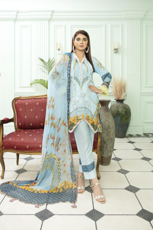 SK-05 - SAFWA SEQUIN KARANDI 3 PIECE COLLECTION - VOL 1 2020 - SHIRT | TROUSER | DUPATTA