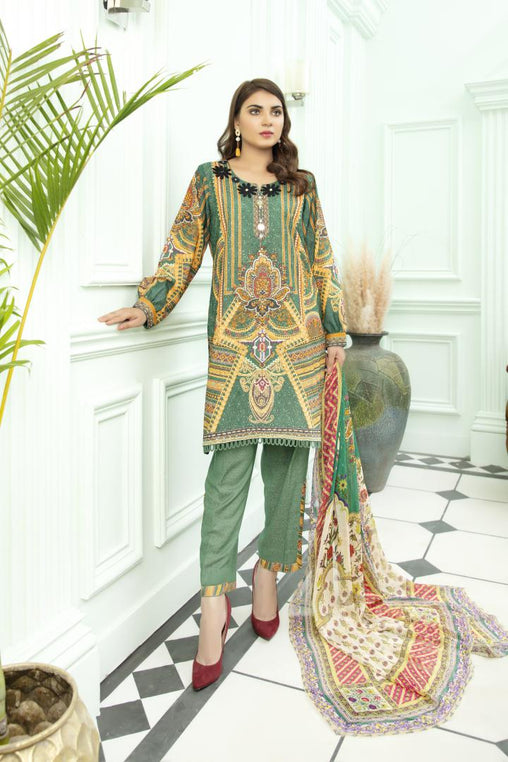 SK 06 - SAFWA DIGITAL KHADDAR 3 PIECE PRINT COLLECTION -SHIRT Trouser and Duptta |SAFWA DRESS DESIGN| DRESSES| PAKISTANI DRESSES| SAFWA -SAFWA Brand Pakistan online shopping for Designer Dresses
