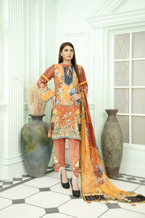 SK 07 - SAFWA DIGITAL KHADDAR 3 PIECE PRINT COLLECTION -SHIRT Trouser and Duptta |SAFWA DRESS DESIGN| DRESSES| PAKISTANI DRESSES| SAFWA -SAFWA Brand Pakistan online shopping for Designer Dresses