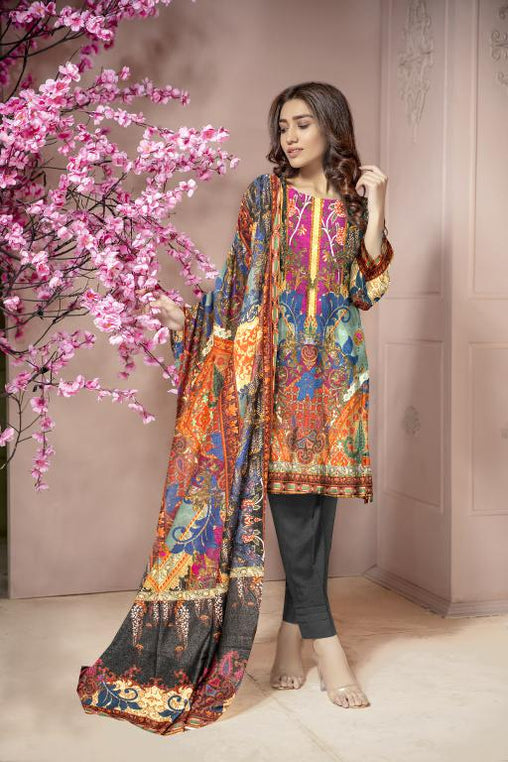 KRR 07 - SAFWA DIGITAL KARANDI-3 PIECE  PRINT COLLECTION -SHIRT Trouser and Duptta |SAFWA DRESS DESIGN| DRESSES| PAKISTANI DRESSES| SAFWA -SAFWA Brand Pakistan online shopping for Designer Dresses