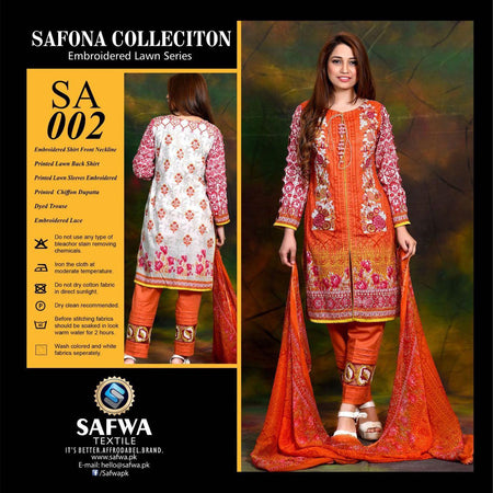 SA002 - SAFWA LAWN - SAFONA COLLECTION - EMBROIDERED - 3 PIECE DRESS, Three Piece Suit, SAFWA, SAFWA Brand - Pakistani Dresses | Kurtis | Shalwar Kameez | Online Shopping | Lawn Dress