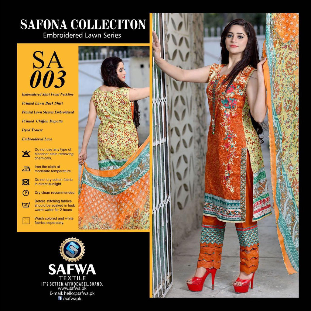 SA003 - SAFWA LAWN - SAFONA COLLECTION - EMBROIDERED - 3 PIECE DRESS, Three Piece Suit, SAFWA, SAFWA Brand - Pakistani Dresses | Kurtis | Shalwar Kameez | Online Shopping | Lawn Dress