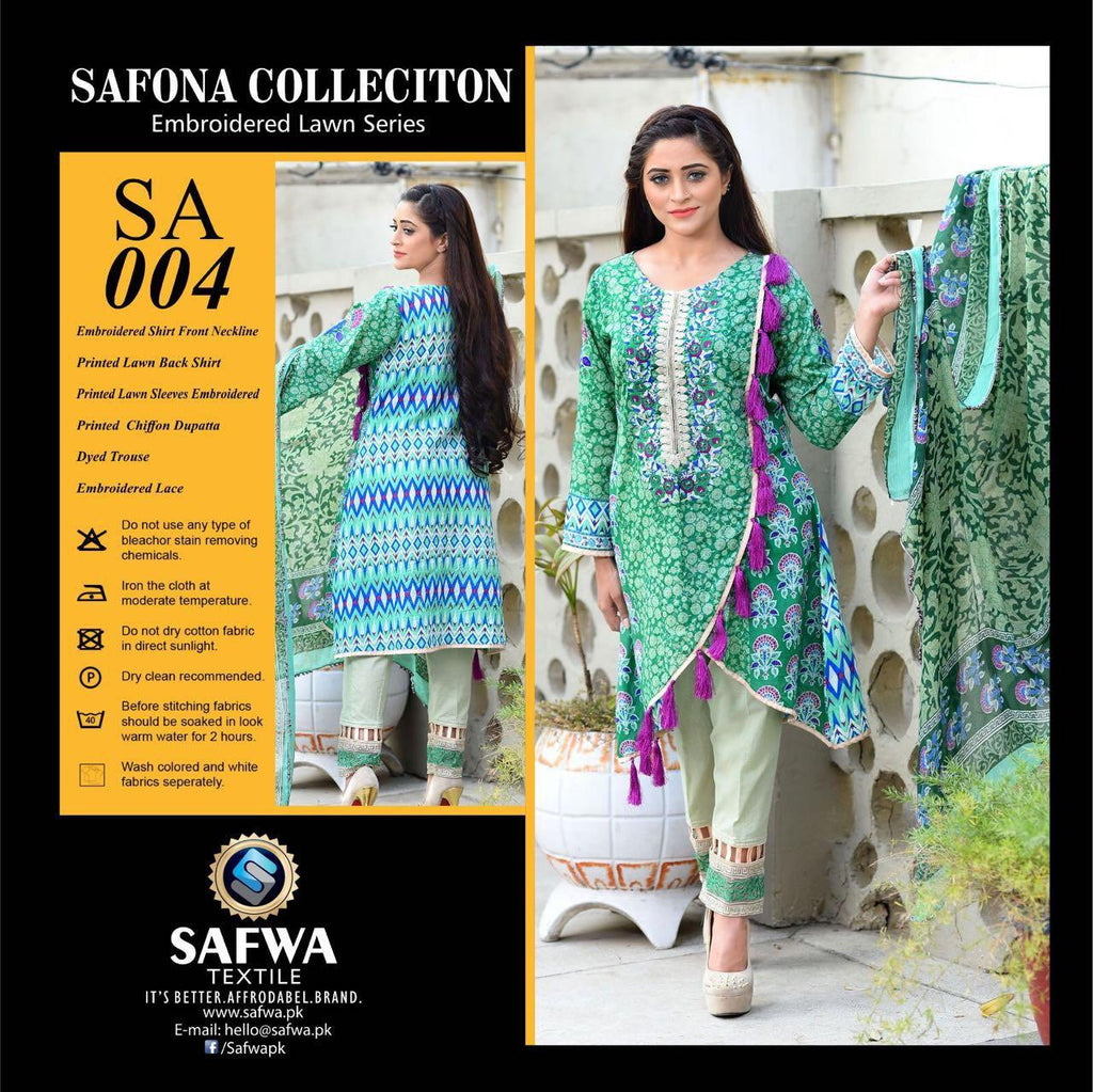 SA004 - SAFWA LAWN - SAFONA COLLECTION - EMBROIDERED - 3 PIECE DRESS, Three Piece Suit, SAFWA, SAFWA Brand - Pakistani Dresses | Kurtis | Shalwar Kameez | Online Shopping | Lawn Dress