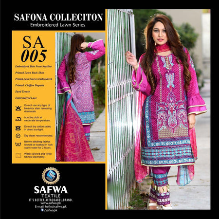 SA005 - SAFWA LAWN - SAFONA COLLECTION - EMBROIDERED - 3 PIECE DRESS, Three Piece Suit, SAFWA, SAFWA Brand - Pakistani Dresses | Kurtis | Shalwar Kameez | Online Shopping | Lawn Dress