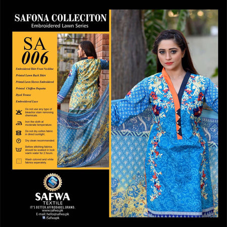 SA006 - SAFWA LAWN - SAFONA COLLECTION - EMBROIDERED - 3 PIECE DRESS, Three Piece Suit, SAFWA, SAFWA Brand - Pakistani Dresses | Kurtis | Shalwar Kameez | Online Shopping | Lawn Dress